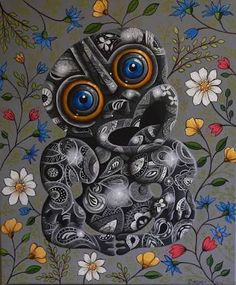 Joanne Webber, artist, is based in Christchurch, New Zealand and paints themes which are distinct, bright and striking. Paint Themes, New Zealand Art, Nz Art, Witch Doctor, Maori Art, Contemporary Paintings, Early Childhood, Art For Kids, Culture