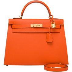Pre-Owned Hermes Orange H Epsom Kelly Sellier 32cm