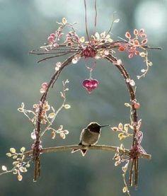 Cute little hummingbird swing ~fairy garden~ Garden Crafts, Garden Projects, Garden Ideas, Backyard Ideas, Rustic Backyard, Easy Garden, Landscaping Ideas, Backyard Landscaping, Hummingbird Swing