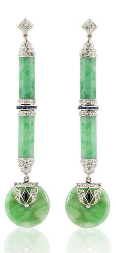 A pair of Art Deco 14K white gold, jadeite, sapphire, diamond and onyx earrings. #ArtDeco