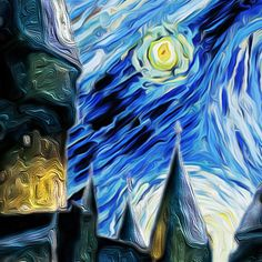 Hogwarts Castle Starry Night Print Van Gogh by VikiArtShop on Etsy