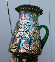 FENTON BUTTERFLY & FERN SCARCE GREEN CARNIVAL GLASS WATER PITCHER Fenton Glassware, Antique Glassware, Types Of Glassware, Blue Carnival Glass, Rainbow Glass, Glass Butterfly, Vintage Carnival, Carnivals, Glass Company