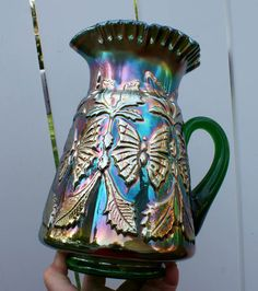FENTON BUTTERFLY & FERN SCARCE GREEN CARNIVAL GLASS WATER PITCHER EXCELLENT !!