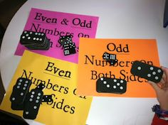 Even and Odd domino sort-perfect as a center activity! I think it would be good for fifth grade to have them decide each side (even/odd) add/subtract/multiple and then decide if the answer is even or odd. Discuss with partner using math language. Math Classroom, Kindergarten Math, Teaching Math, Teaching Ideas, Classroom Ideas, Teaching Tools, Preschool, Math Resources, Math Activities