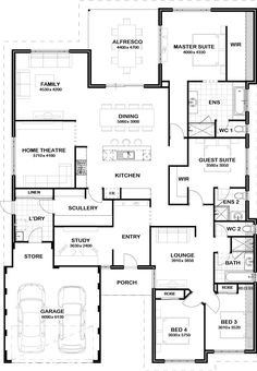 Master closet behind the bed new house plans, modern house plans, dream House Layout Plans, New House Plans, Dream House Plans, Modern House Plans, House Layouts, House Floor Plans, 4 Bedroom House Plans, House Rooms, Home Design Floor Plans