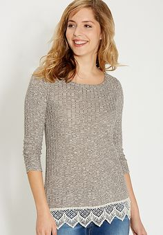 ribbed tunic top with lace hem   maurices