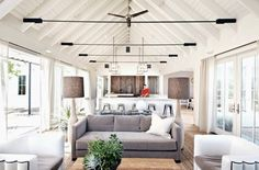 A heavenly home in wine country featuring a white, gable-roofed, neutral interior. #livingrooms #decor #home