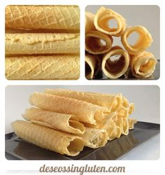 Deseos Sin Gluten: BARQUILLOS SIN GLUTEN Gluten Free Sweets, Gluten Free Cookies, Gluten Free Baking, Vegan Gluten Free, Gluten Free Recipes, Healthy Recipes, Waffle, Sem Lactose, Bread Machine Recipes