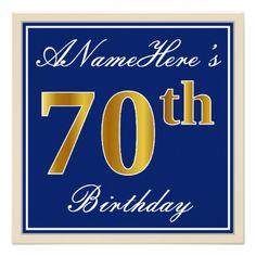 #Elegant Blue Faux Gold 70th Birthday  Name Card - #birthday #invitations