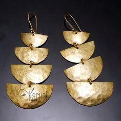 Bijoux Ethniques Africains Boucles d'Oreilles Peul Fulani Bronze Doré 4 Lunes