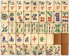 1923 Bone and Bamboo Majong Tiles