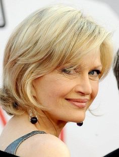 her flattering option for older woman is a chin-length bob with added layers. In case your hair is slightly curly, it will give a cute flip at the edges naturally, otherwise you may easily curl them with a blow-dryer and a round comb.