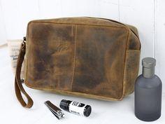 Men's Leather Wash Bag