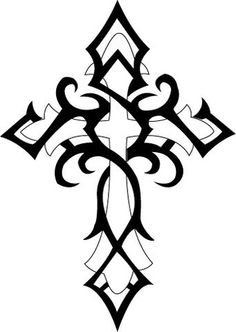 Tribal Cross Tattoo. Not sure if I could get this small enough to hide it for work in any of the places I'd prefer.
