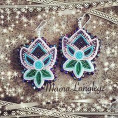 Beaded Ojibwe floral earrings made by Ojibwe beadwork artist Summer Peters.