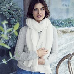 Ultimate Cashmere Shawl | The White Company US. Made from our fabulous pure cashmere, this luxurious oversize scarf is light yet strong and endlessly chic. Shopping from the UK? -> http://www.thewhitecompany.com/Large-Cashmere-Knitted-Scarf/p/LCCSC?swatch=Winter+White
