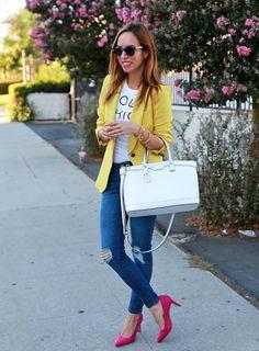 Sydne-Style-Holy-Chic-graphic-tee-yellow-blazer-distressed-denim-pink-suede-pumps-old-navy-henri-bendel-w-57th-satchel