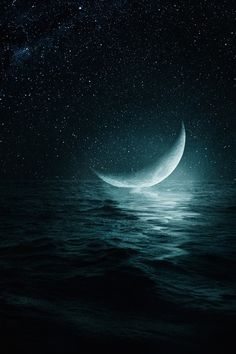 Moon on the ocean
