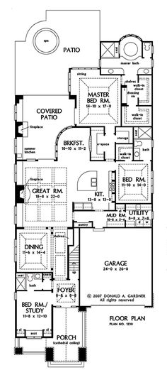 plan 32183aa long and narrow mediterranean home plan pinterest