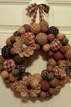 Primitive rag ball wreath,gotta make this!!!