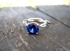 Bold 2 Carat Blue Sapphire Infinity Engagement Ring  by Benati