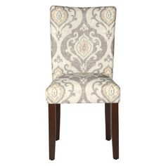 Set of 2 Parsons Pattern Dining Chair Wood – HomePop Patterned Dining Chairs, Parsons Dining Chairs, Tufted Dining Chairs, Dining Chair Set, Dining Room, Dining Tables, Grey Chair, Furniture Legs, Chair Design