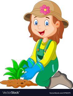 Cartoon she was plants in the garden vector image on VectorStock Eagle Cartoon, Cartoon Bat, Happy Cartoon, Cartoon Kids, Cartoon Characters, Yoga For Kids, Art For Kids, Hedgehog Craft, School Frame