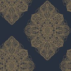Shop for Arthouse Henna Navy and Gold Wallpaper at wilko - where we offer a range of home and leisure goods at great prices. Gold Wallpaper Living Room, Blue And Gold Wallpaper, Feature Wallpaper, Cheap Wallpaper, Metallic Wallpaper, Damask Wallpaper, Geometric Wallpaper Free, Gold Henna, Brown And Blue Living Room