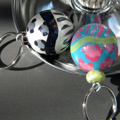 Hand Painted Ball Key Fob with Leopard and Zebra by muraldevotee, $14.95