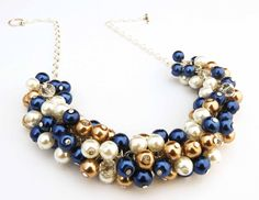 5 x Bridesmaid Pearl Cluster Necklace Set Navy by crystaljemscouk