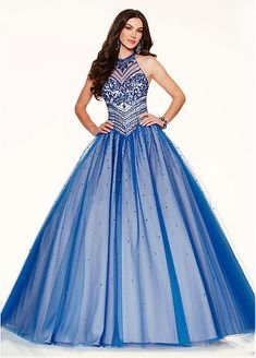 Elegant Tulle Jewel Neckline Ball Gown Quinceanera Dresses With Embroidery