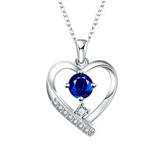 Show details for Necklaces Women Sweet Heart Silver Plated Copper Rhinestone 8inches Chain Pendant