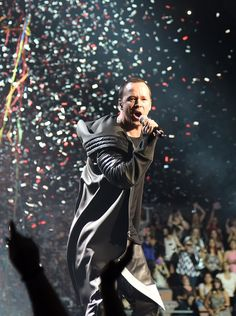 Singer Donnie Wahlberg of New Kids on the Block performs in front of confetti and streamers during the kickoff of The Main Event tour at the Mandalay Bay Events Center on May 1, 2015 in Las Vegas, Nevada.