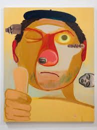 """Nicole Eisenman, """"Guy Artist,"""" 2011. Oil and collage on canvas, 76x60 inches. Courtesy Susanne Vielmetter Los Angeles Projects."""