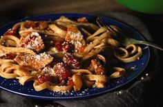 Chicken-Parmesan Pasta Toss recipe - Fettuccine with chicken, tomato sauce, zesty dressing and cheese—yet it's a smart dinnertime option. And so delish you'll want to make it a regular on the menu.