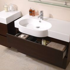 View the Wall Hung Storage Unit - Walnut 2 Drawer Cabinet - Madrid Range. Finance options & free delivery available, shop now! Small Bathroom Storage, Bathroom Sets, Storage Drawers, Storage Spaces, Storage Ideas, Bathroom Cabinets, Bathroom Flooring, Traditional Bathroom Furniture, Stone Basin