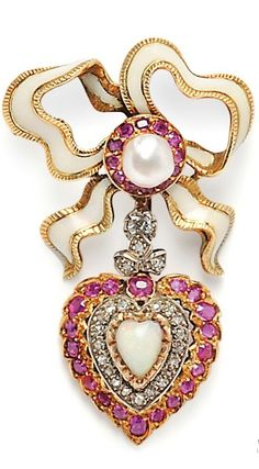French 18k Gold Gem-set Brooch. The enamel bow with ruby and pearl center and suspending a heart-shape drop set with an opal and old mine-cut diamonds with ruby border, lg. 2 3/8 in., maker's mark and guarantee stamps.