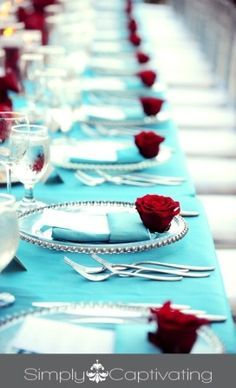 Tiffany Blue and Deep Red Roses #wedding