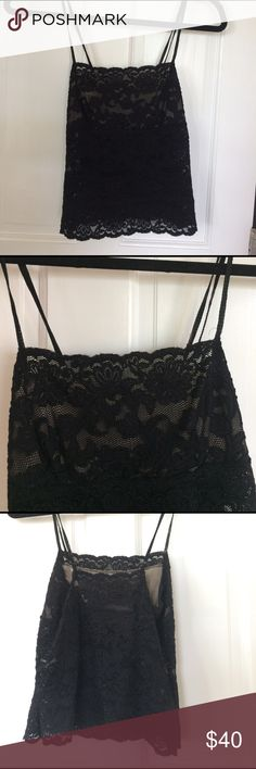 Lacey Half See-Through Tank Black, beige inside coverage on the top half of shirt, see through lace on the bottom half Hanky Panky Tops Tank Tops