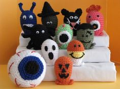 Yet another set of amigurumi I must make!  Halloween Bowling Set 1  Crochet Pattern by mnsnow on Etsy, $8.50
