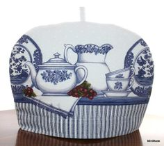TEA COZY, Up-cycled Linens, Blue and White China