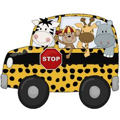 Cartoon Jungle Animals In School Bus