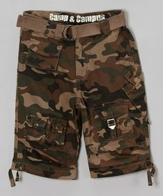 dfb9d5be24b Camp & Campus Green Camo Jet Lag Belted Cargo Shorts