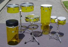 Ludwig - Vistalite Yellow-Bongos-Conga-Throne-Timbales, 3.5X13 Piccolo Snare