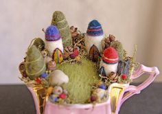 Tiny Fairy Houses and Village Waldorf Fairy Garden by gingerlittle
