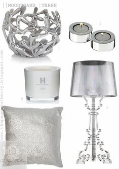 shimmering white bedroom accessories - Kelly Hoppen perfumed candles, metallic silver cushions, Kartell Bourgie lamps - The Paper Mulberry: || CHRISTMAS | GLAMOROUS WHITE