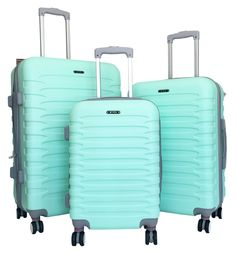 Amazon.com: 3pc Luggage Set Hardside Rolling 4wheel Spinner Carryon Travel Case ABS Mint: Clothing