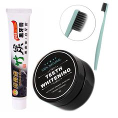 3pcs/set Bamboo Toothpaste Charcoal Ultra Soft Toothbrush Daily Use Teeth Whitening Bamboo Charcoal Powder #Affiliate