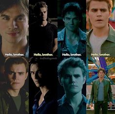 "The Vampire Diaries Damon & Stefan ""Hello, brother. Serie Vampire Diaries, Vampire Diaries Quotes, Vampire Diaries The Originals, Damon And Stefan Salvatore, The Salvatore Brothers, Vampire Daries, Hello Brother, Bae, Original Vampire"