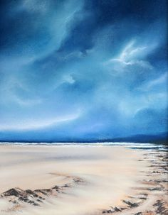 Dark blue sky original pastel landscape painting by woodenpalette, $100.00